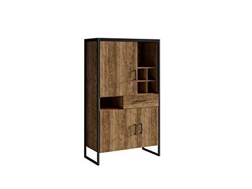 Furniture24 Schrank TARABO 42, Kommode, Highboard, Wihnzimmerschrank mit 3 Türen und 1 Schublade, Appenzeller Fichte Dekor