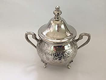 Moroccan Medium Sugar Bowl Container for Tea Pot Set Handmade Brass Silver Plated Teapot Hand Carved In Fes Morocco