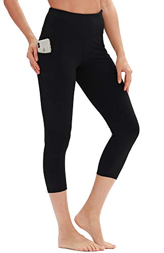 icyzone Damen Capri 3/4 Sporthose Yoga Fitness Leggings Hohe Taille Jogginghose Trainingshose mit Tasche (L, Schwarz)