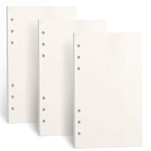FYY 3 Packungen A6 Papier Blanko,A6 Refill Paper 135 Blätter (270 Seiten) für 6 Ring Binder Notizbuch,Nachfülleinlagen für Filofax A6,Notizen,Tagbuch,Skizze,DIY,Bullet Journal,Malerei,(Blanko)