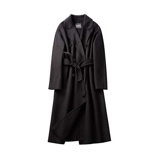 Gabardina de Terciopelo de Lana de Doble Cara con Solapa para Mujer, Abrigo Largo de Invierno Cruzado con cinturón, L, Negro