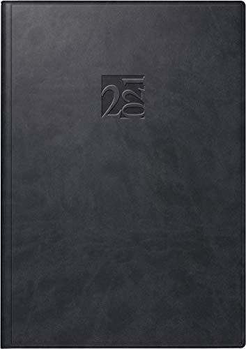 rido/idé 7023005901 Buchkalender studioplan int, 2 Seiten = 1 Woche, 168 x 240 mm, Kunstleder-Einband West schwarz, Kalendarium 2021, mit Registerschnitt