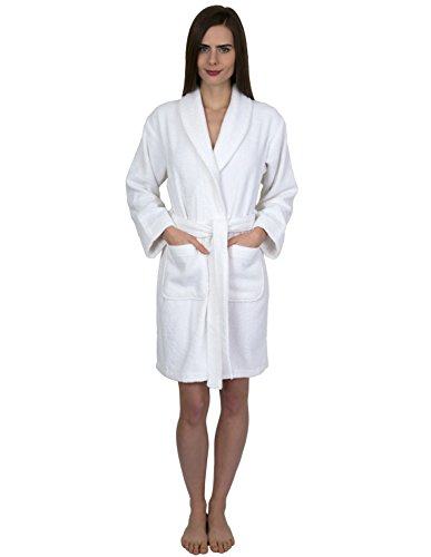 TowelSelections Womens Short Turkish Cotton Robe Terry Bathrobe Medium White