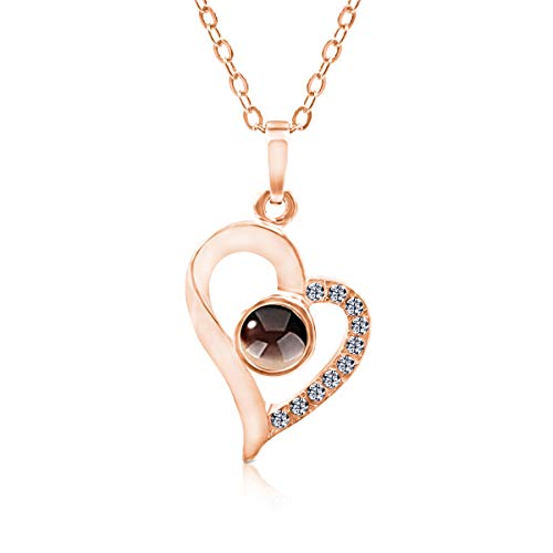 DIAMOND QUEENS® 100 Sprachen ich liebe Dich Kette I Ich liebe Dich Anhänger Herz mit Projektion I Love Memory Halskette als Geschenk in Schmuck Box (Rose)