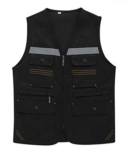 Icegrey Safety Vest Hoge Zichtbaarheid Reflecterend met Zakken Rits Werk Vest L Zwart