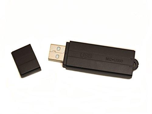 sellgal-tec ® MQ-U350DE V101 anthrazit - USB-Stick Diktiergerät mit Aufnahmeaktivierung durch Geräusche oder Daueraufnahme. Bis zu 20 Tage lang Standby, USB Stick 8GB