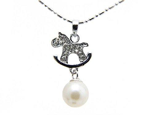 Agathe creation CF242014 - Collana fantasia con cavallo a dondolo in metallo e stass + perla, catena 41 cm