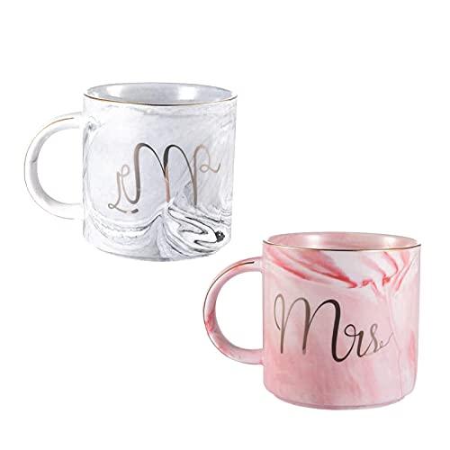 2 Piezas Taza de Café de Cerámica,Taza de Cerámica Mr y Mrs, para la Novia y el Novio Boda Creativo, de Boda/Novia y Novio/Pareja/Navidad/Aniversarios/San Valentín/Cumpleaños
