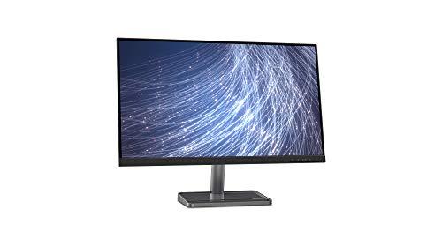 Lenovo L27i-30 27.0 Zoll FHD IPS FreeSync Gaming Monitor 5 ms VGA + HDMI ultradünne Kanten mit Metallfuß und Smartphone-Halterung - Tiefschwarz/Metallgrau