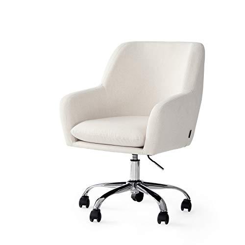 Drehsessel mit Rollen Stuhl für Schreibtisch Mit Armlehnen und Rücken Schreibtischstuhl Kosmetik Stuhl mit Verstellbar Hydraulische Beige Bürostuhl mit Rollen