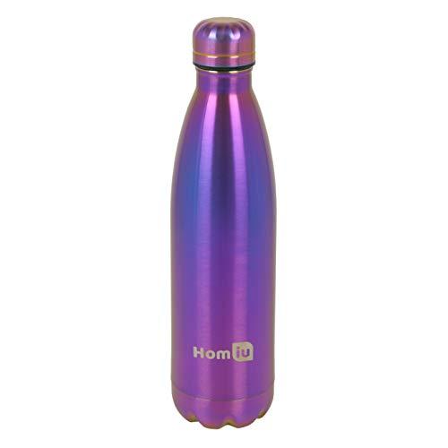 Homiu Trinkflasche 500 Milliliter Ultimate Vacuum Insulated Double Wall Edelstahl Wasser und Getränke 24 Stunden kalt und 12 heiß Sportflasche L Silber (Regenbogen, 500ml)