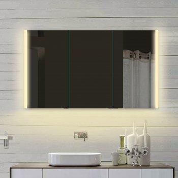 rmi by pack Armadietto da Bagno con Specchio, in Alluminio, con LED, Luce Bianca Calda/Fredda Regolabile