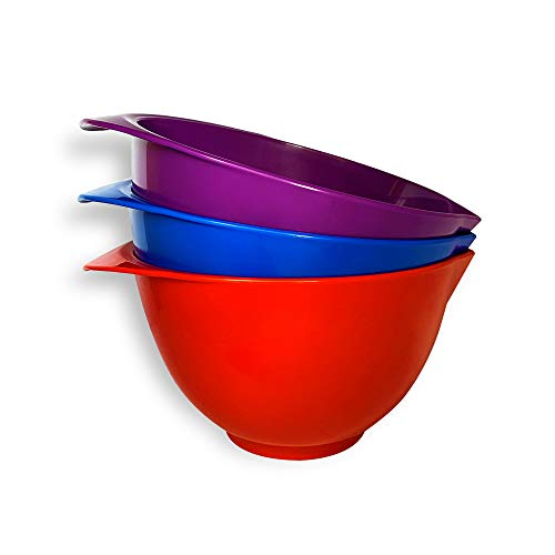 Mixing Bowl with spout and Handle | Set of 3 - Red, Blue, Purple | Beautifully Coloured Bowl Set | Compact, Stackable & Ergonomically Designed | Proudly Made in The UK
