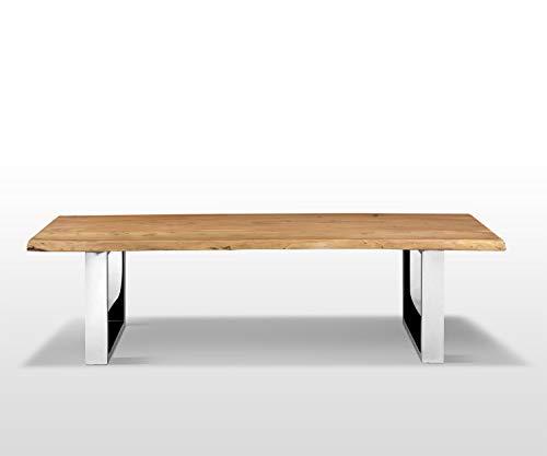 AISER Royal Massive Echt-Holz Sitzbank Baumkantenbank -Aalborg- 200 x 44 cm aus besonders schön gezeichnetem Akazien-Holz mit verchromten Metall-Beinen in modernem zeitlosen Design