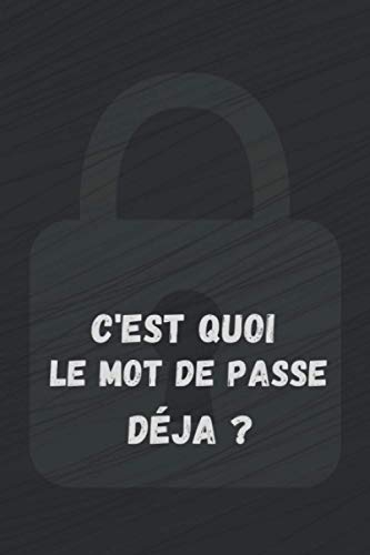 C'est quoi le mot de passe déjà ?: Cahier pour garder et stocker vos mots de passe internet et identifiants en sécurité. Carnet, Agenda pour adresses ... A à Z. 6