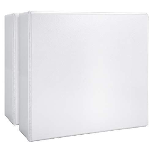 "Amazon Basics 4"" Heavy-Duty View 3 Ring Binder, White, 2/Pack"