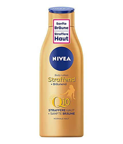 NIVEA Loción corporal reafirmante + bronceador Q10 (200 ml), cuidado para un bronceado suave con aroma fresco de verano, cuidado de la piel antiedad con Q10