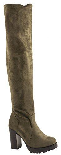Elara Damen Stiefel Overknee High Heels Absatz Chunkyrayan 0-96-Gruen-36