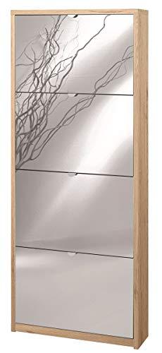 Zapatero con espejo natural de 4 puertas abatibles H154 L63 P18 Color Roble Capacidad 10 pares de zapatos 554k