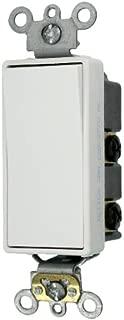 Leviton 5622-2W 20-Amp 120/277-Volt Decora Plus Rocker Double-Pole AC Quiet Switch, White
