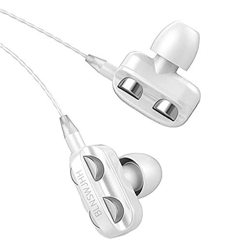 Maidi Auriculares con Cable Universal Auriculares Equipo de Audio Auriculares bajo Pesado de Dos transductores con Stereo Gaming Deportes Auriculares con micrófono de 3,5 mm Blanca
