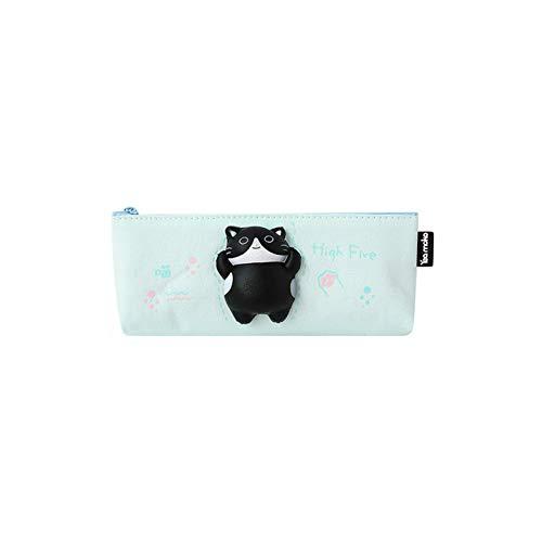 SHIFWE Gato de dibujos animados, amasando a ventilación y rebote creativo papelería estuche lindo suministros escolares lápices material ES Colar Pen Bolsa