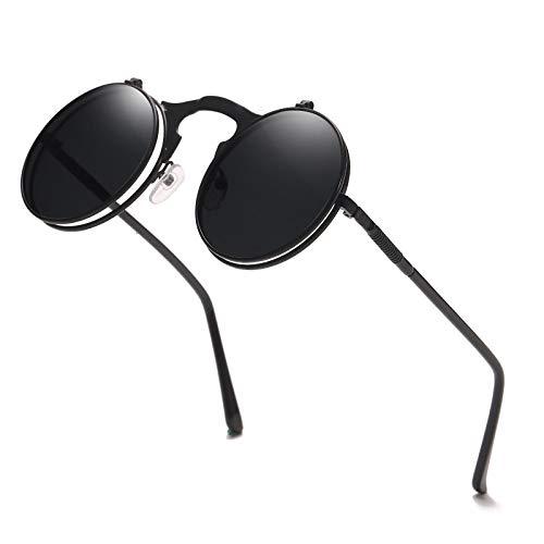 Gafas De Sol Retro Steampunk para Hombres Y Mujeres, Gafas De Sol Redondas con Doble Tapa Clásicas, Gafas Punk De Vapor para Mujer, Gafas Circulares, Negras