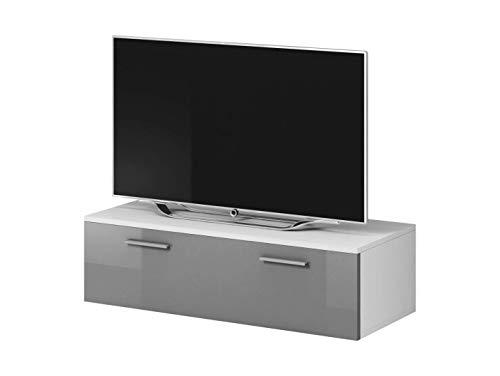 E-com TV Unidad Gabinete Soporte de TV de Entretenimiento Lowboard Boston Cuerpo Blanco Mate/Frente Gris de Alto Brillo (100 cm)