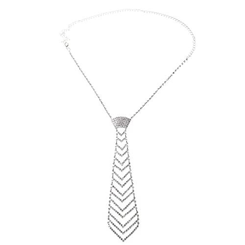 Beiyasi Glitter Faux Crystal Rhinestone Corbata para el Cuello Collar de joyería de Diamantes de Lujo Collar Corbata de Plata