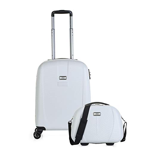 JASLEN – Set of 2 Suitcases and Toiletry Bag, Small Suitcase 55 x 39 x 20 cm + 36 x 27 x 16 cm, ABS, Rigid and Durable, 4 Lightweight Wheels, TSA 56550B Lock, White-Black (White) - 56550B