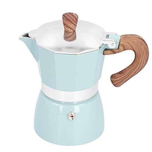 Cafetera Moka octogonal, cafetera de 150 ML, práctica cafetera de aluminio octogonal, cafetera Moka para electrodomésticos de cocina de oficina en casa(Azul)