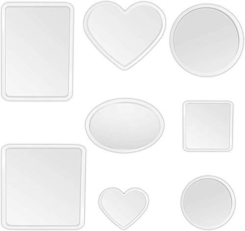 6 PCS DIY Coaster Moule en Silicone,Moule en Résine de Silicone Dessous de Verre Rond Carré Ovale Cœur Moule de Coulée Époxy pour Les Bricolages Artisanat Fournitures d'art