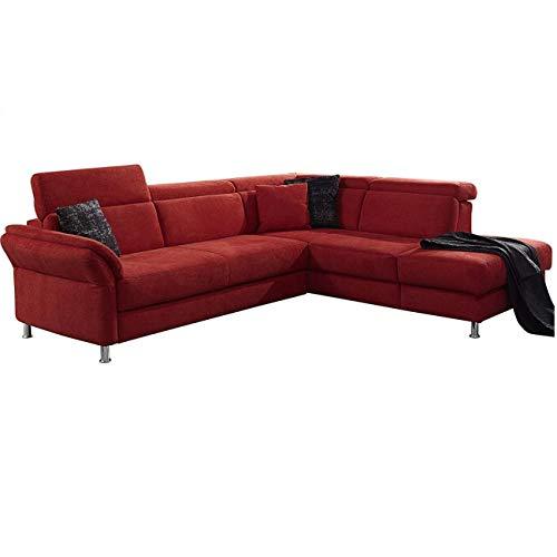 Cavadore Ecksofa Avagnoon mit Ottomane rechts, L-Form Sofa mit Kopfteilverstellung, Bettfunktion und Stauraum, 269 x 81 x 228, Flachgewebe rot