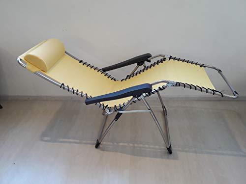 Fauteuil relax avec châssis en aluminium avec tissu chaise longue en textilène – Couleur Jaune – pour usage extérieur intérieur modèle 029TX Movida – Multi-position et refermable, fabriqué en Italie