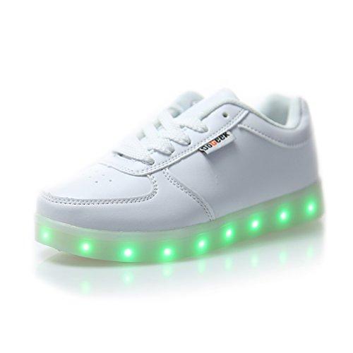 DoGeek Zapatos Led Negras 7 Color USB Carga LED Zapatillas Luces Luminosos Zapatillas Led Deportivos para Hombres Mujeres (Elegir 1 tamaño más Grande)