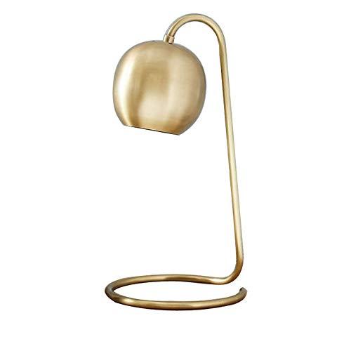 XFSE Lámpara de mesa de hierro retro LED vertical lámpara de mesa moderna minimalista bola de vidrio dormitorio creativo sala de estar dormitorio estudio lámpara de mesa (color: oro)