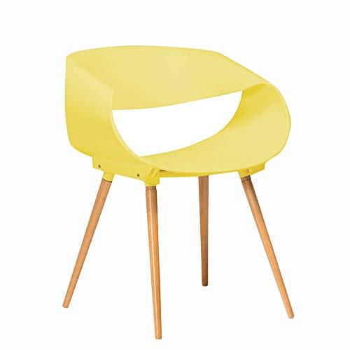 Zhihui Stuhl ZZHF dengzi Massivholzstuhl - 4-Fuß-Computerstuhl verhandeln Feststehender Freizeit-Konferenzstuhl Einteiliger, verformter Bürostuhl, Weiß/Gelb Bürostuhl (Farbe : Gelb)