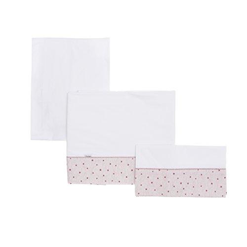 Cambrass Stela - Sábana para capazo, 3 piezas, 80 x 120 cm, color rosa