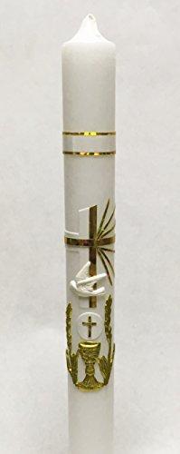 Taufkerze Kommunionkerze K-16 Gold inkl. Tropfschutz und Beschriftung KW-JO-K16