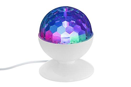 Briloner Leuchten LED Tischlampe mit bunten Disco-Lichteffekten, besonderes Party Zubehör mit RGB Farbwechsel, Kinder Disco-Kugel, selbstdrehende Lampe