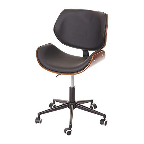 Mendler Bürostuhl HWC-G25, Drehstuhl Schreibtischstuhl, Bugholz Walnuss-Optik Retro drehbar höhenverstellbar schwarz-braun