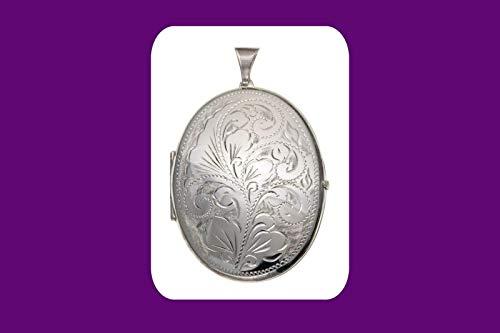 J R Jewellery Enorme Plata Oval Medallón 50 x 40mm Plata Maciza de Ley Todo Cadena Largos - Length:No Chain