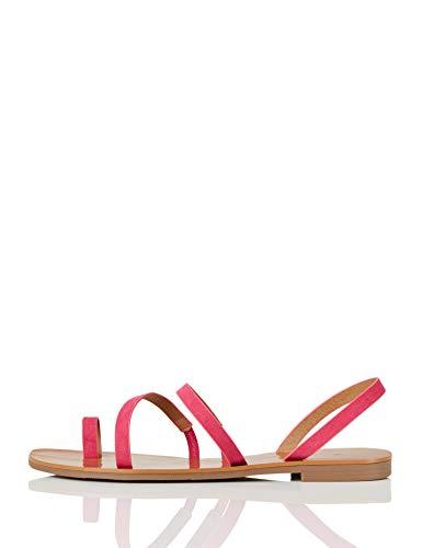 Marca Amazon - find. Flat Gladiator Sandalias de Gladiador, Pink (Hot Pink), 40 EU