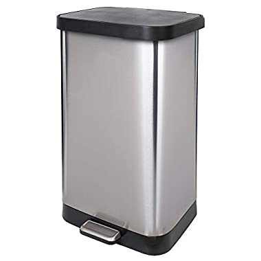 GLAD GLD-74507 Extra Capacity Stainless Steel Step Trash Can with Clorox Odor Protection of The Lid   Fits Kitchen Pro 20 Gallon Waste Bags