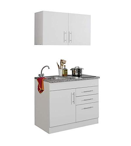lifestyle4living Singleküche mit Glaskeramikkochfeld | Miniküche 100 cm in Weiß mit Arbeitsplatte, Spülbecken und Kochfeld