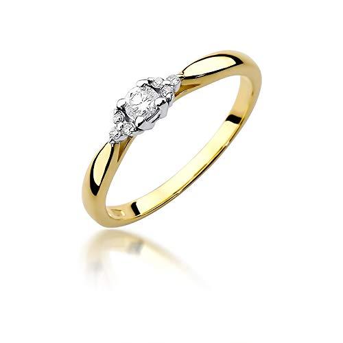 Damen Versprechen Ring Verlobungsring Antragsring 585 14k Gold Gelbgold natürlicher echt Diamanten Brillanten