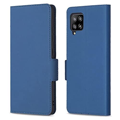 HTDELEC Funda para Samsung Galaxy A42 5G, ultra fina, funda con tapa, color azul, con ranura para tarjetas y cierre magnético, piel tipo libro, para Samsung Galaxy A42 5G, color azul
