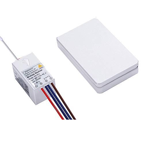 SNOWINSPRING Kit de Interruptor de Luz InaláMbrico, Interruptor de Encendido/Apagado una Prueba de Agua para LáMpara Interior/Exterior, Sin Cableado/FáCil InstalacióN