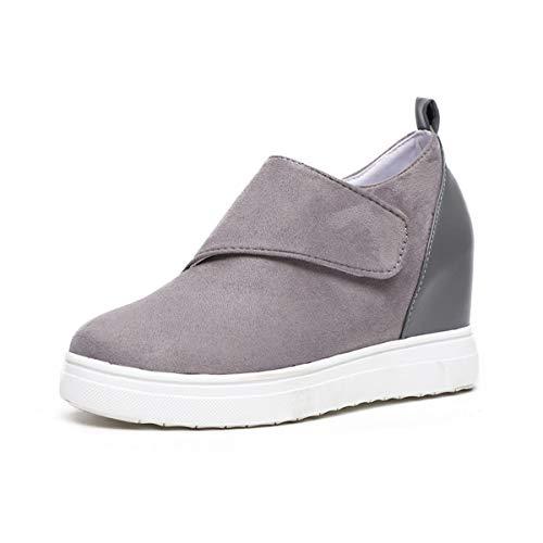 Botines Cuña Mujer Zapatillas Plataforma Atajo Hook Loop Zapatos para Correr Fitness Tacon 5cm Color de Costura G1 Gris EU40