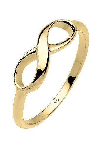 Elli PREMIUM Ring Damen Infinity Unendlichkeit Liebe in 375 Gelbgold